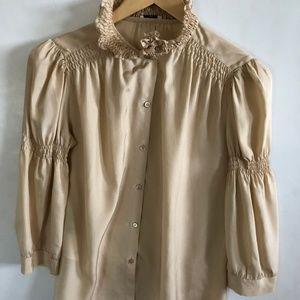 MIU MIU Silk Blouse Gathered High Neck sz 42